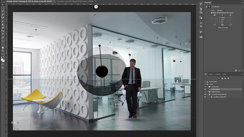 Photoshop UI showing placement of a human 3D model