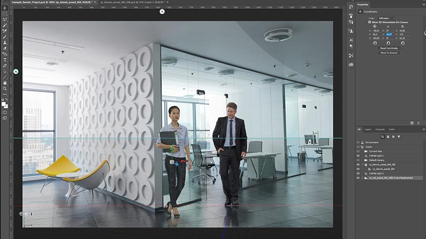 Photoshop UI showing import of two 3D people into interior rendering