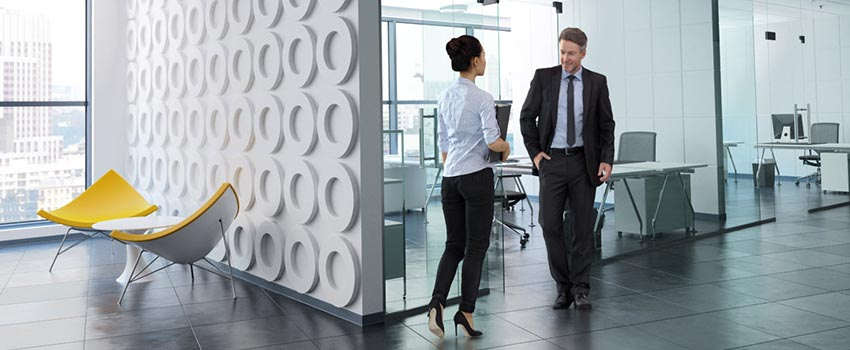 Two 3D office people walking in interior scene