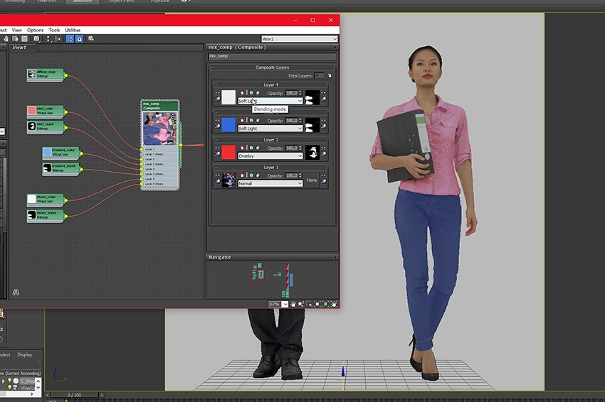 Renderpeople Material Setup in 3ds Max with colorchanging modifier