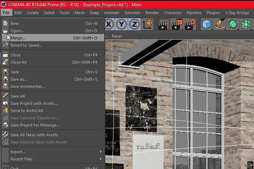 Cinema 4D main menu with merge function