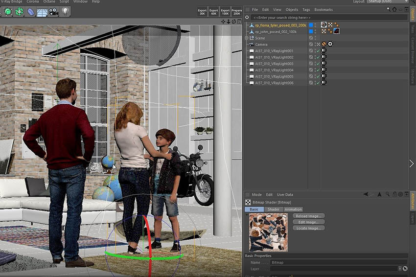 Cinema 4D viewport with interior scene showing scanned family 3D Humans