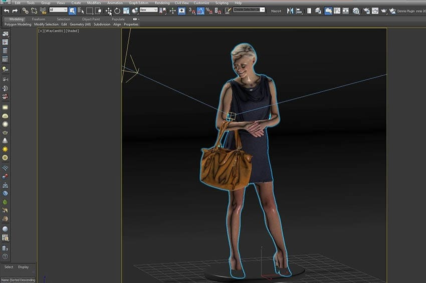 Viewport of 3ds max with 3D scanned human model