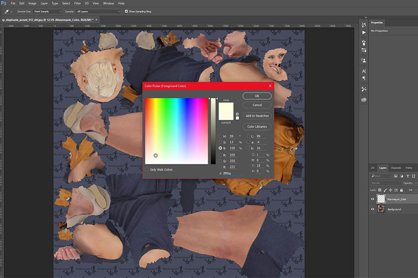 Renderpeople texture map with color selection tool in photoshop
