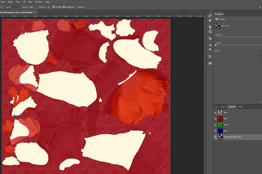 Photoshop snapshot of a Renderpeople texture map with masking