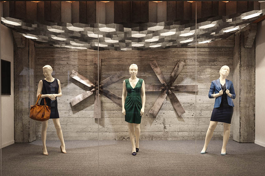 3D scanned mannequins in shop windows with different clothes