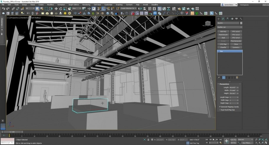 Viewport of 3ds max showing a warehouse