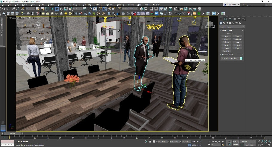 3D Viewport of 3ds Max with different Renderpeople 3D People Models