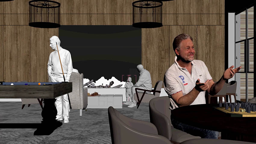 Closeup Concept of Waterbrook Bowral Gameroom with 3D People in Focus