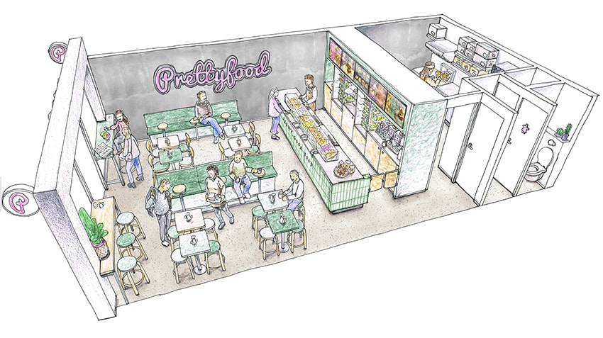 Sketched preview of a 3D Restaurant concept