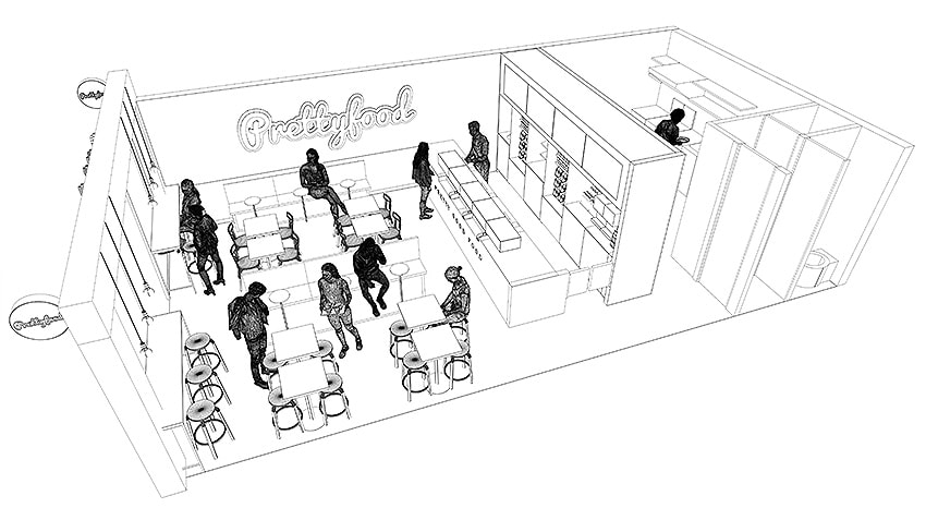 Sketched preview of a Rhino 3D Restaurant concept