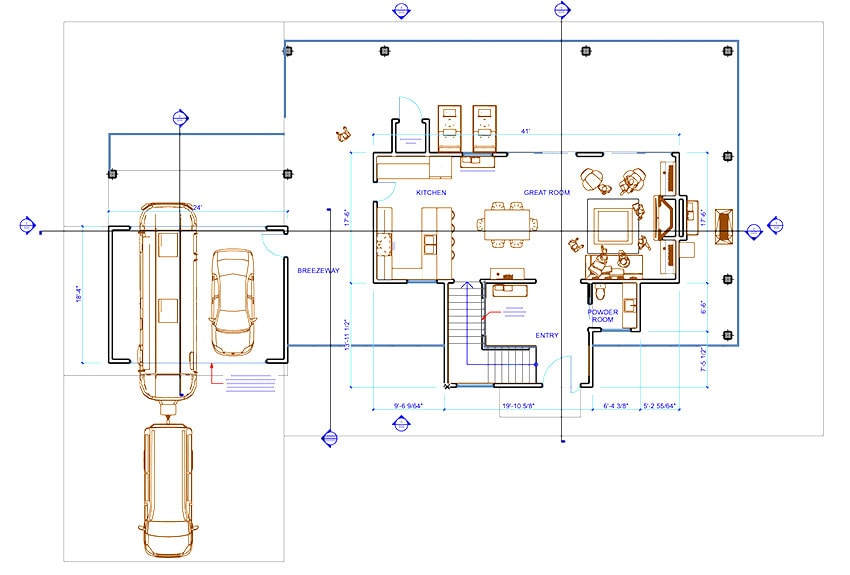 ArchiCAD Viewport - Top view of the new building plan