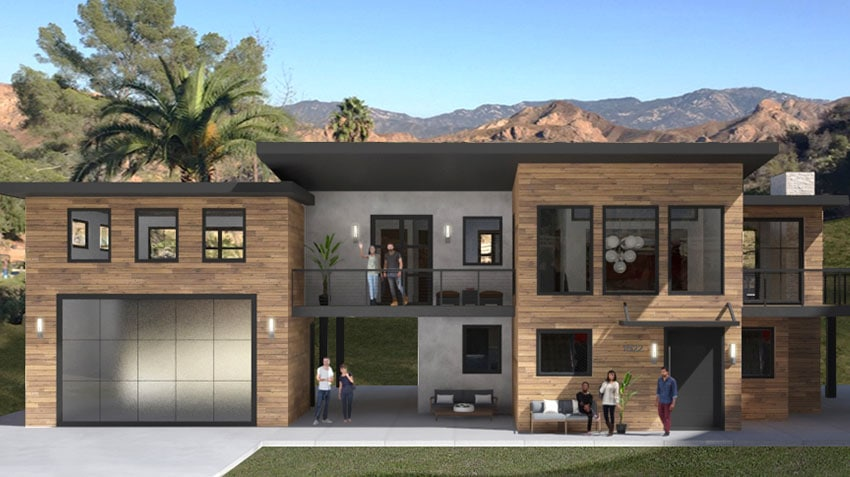 Exterior Rendering of the 3D visualized living room Malibu Home