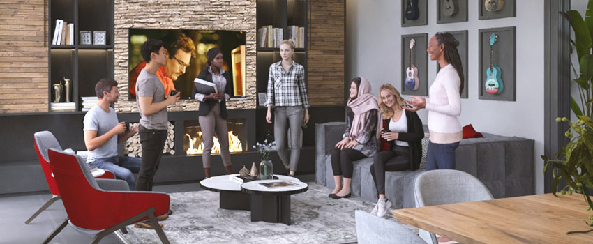 Rendering of a 3D interior scene with 3D People standing in the middle of a living room