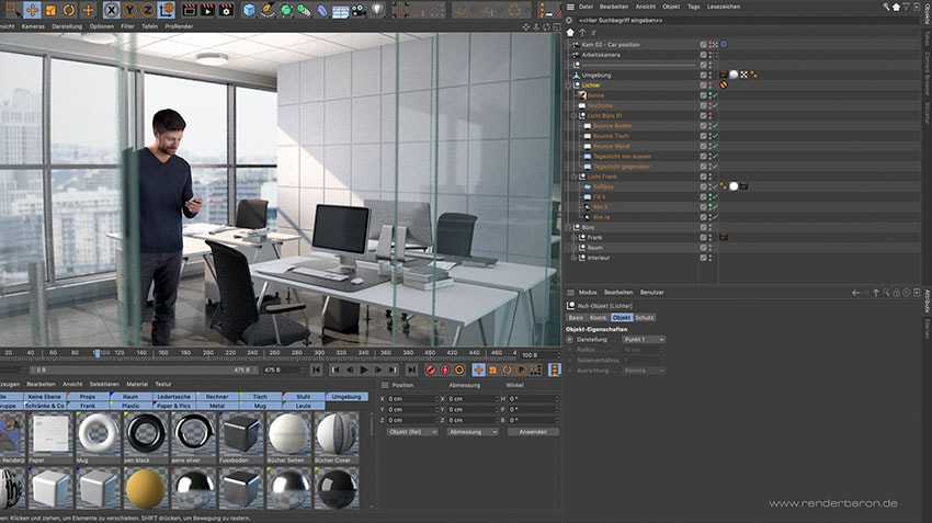 Cinema 4D Viewport of an office scene Rendering