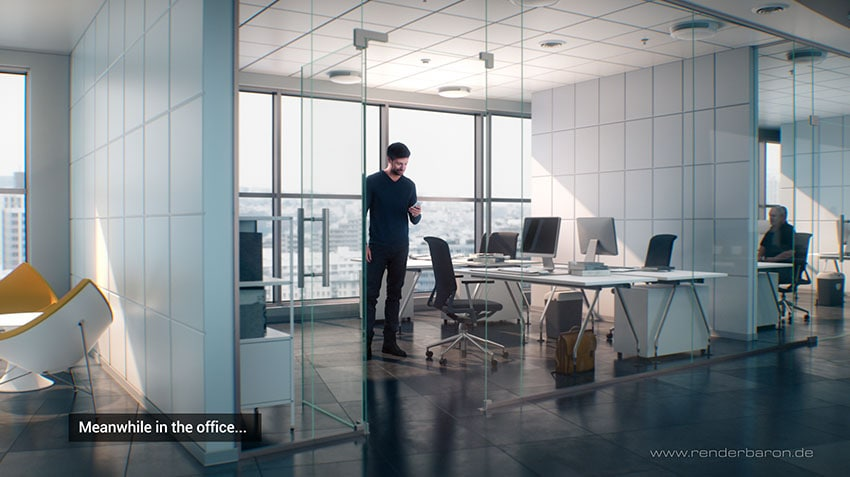 Office Rendering with standing 3D People Model Nathan