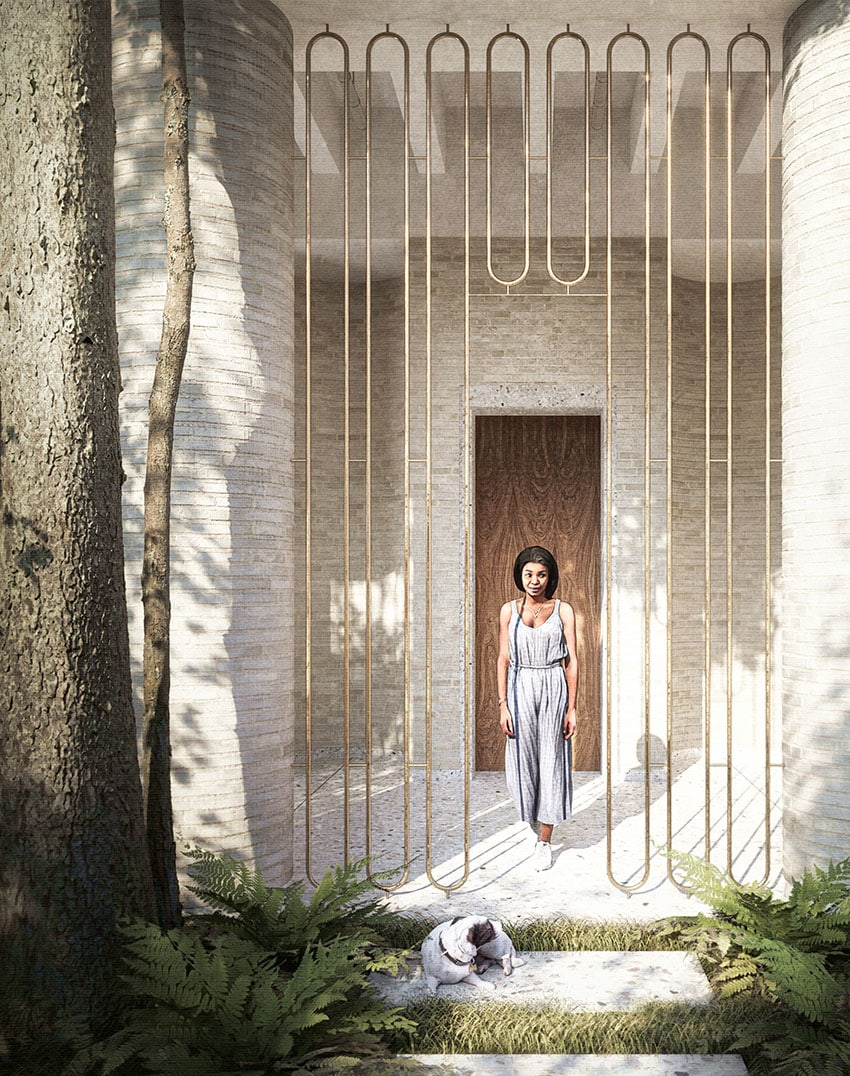 Artistic Rendering - Woman walking into garden by Eric Dietze