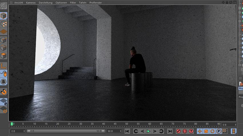 Artistic Rendering - Cinema 4D Viewport of Silhouette Rendering
