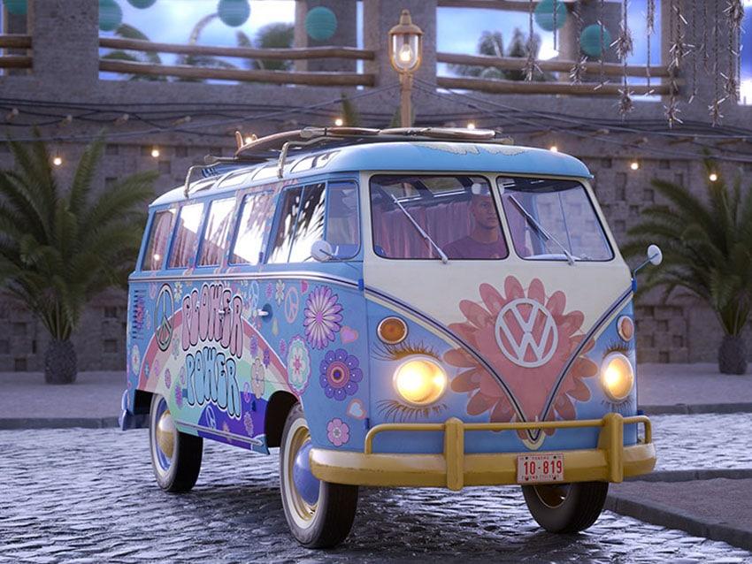 VW Bus Rendering with 3D People model