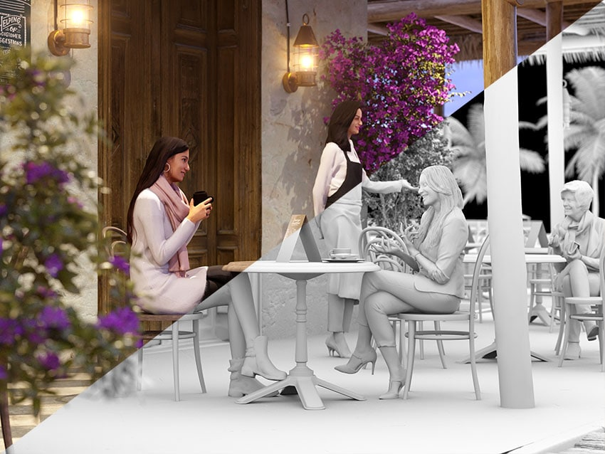 Beach Bar Exterior Visualization with 3D People models