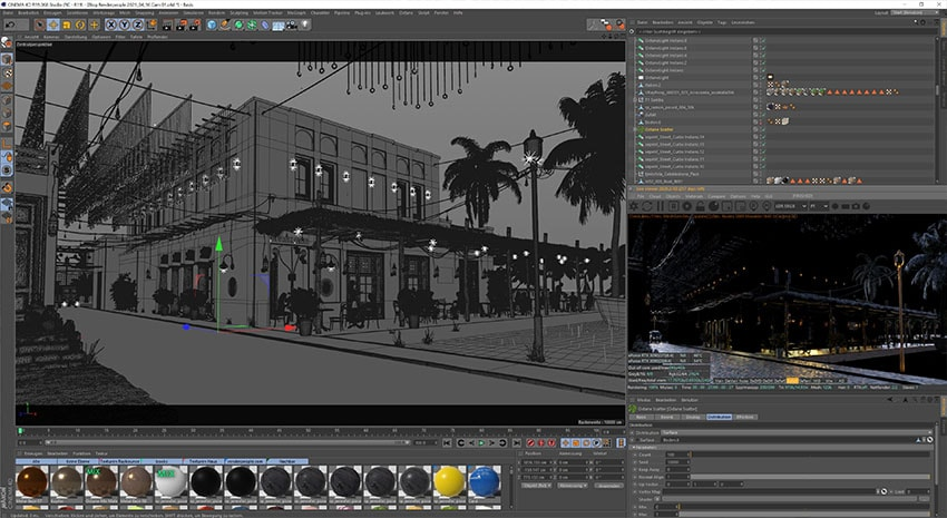 Cinema 4D Beach Bar Exterior Visualization Screenshot