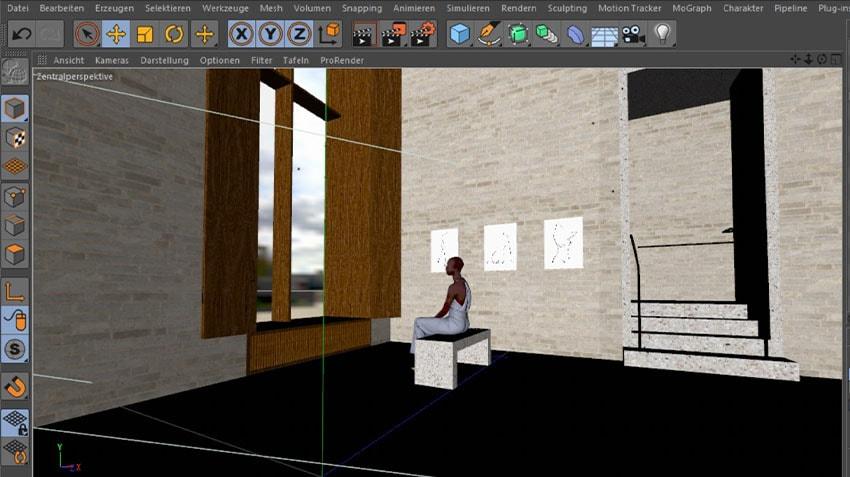 Artistic Rendering - Cinema 4D Viewport of Girl in Blue Dress | Eric Dietze
