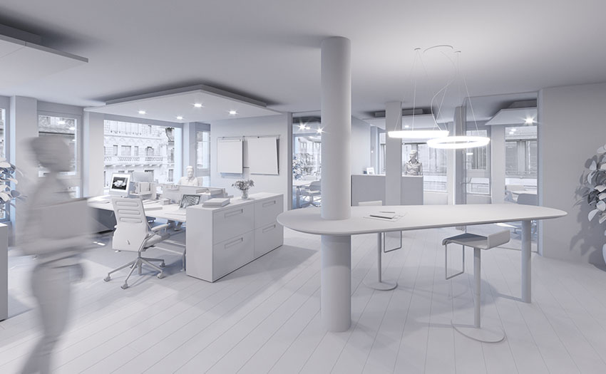 Interior office 3D Clay Rendering