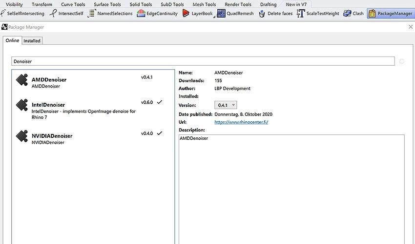 Rhino 7 Packagemanager Window Screenshot