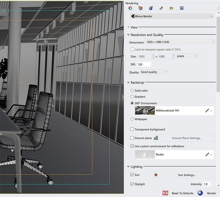 Rhino 7 Rendersettings Window Screenshot