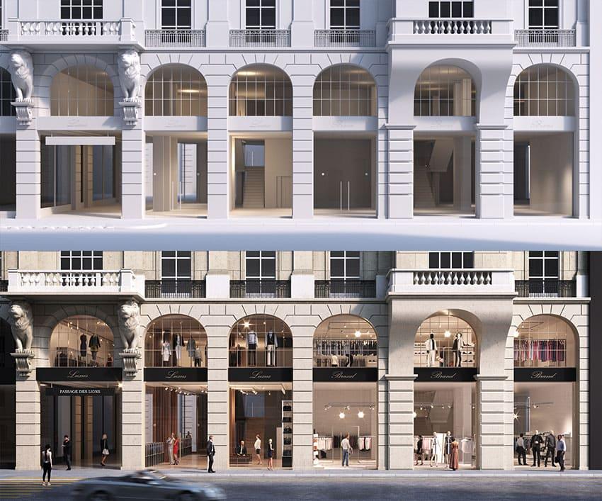 Shopping mall exterior visualization comparison