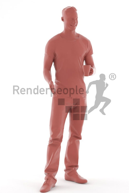 3d people casual, white 3d man with a cup