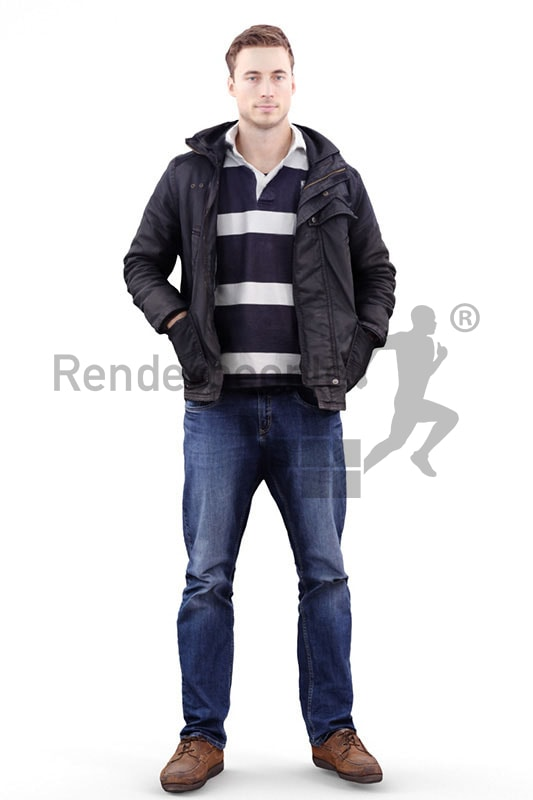 3d people casual, white 3d man with his hands in his pockets