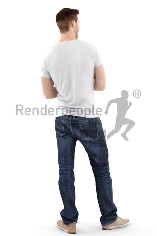 3d people casual, white 3d man smiling