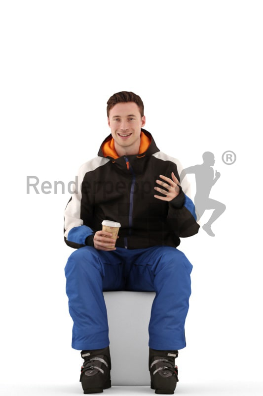 3d people skiing, white 3d man sitting drinking a coffee