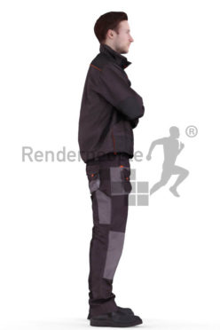 3d people worker, white 3d man standing with his arms crossed