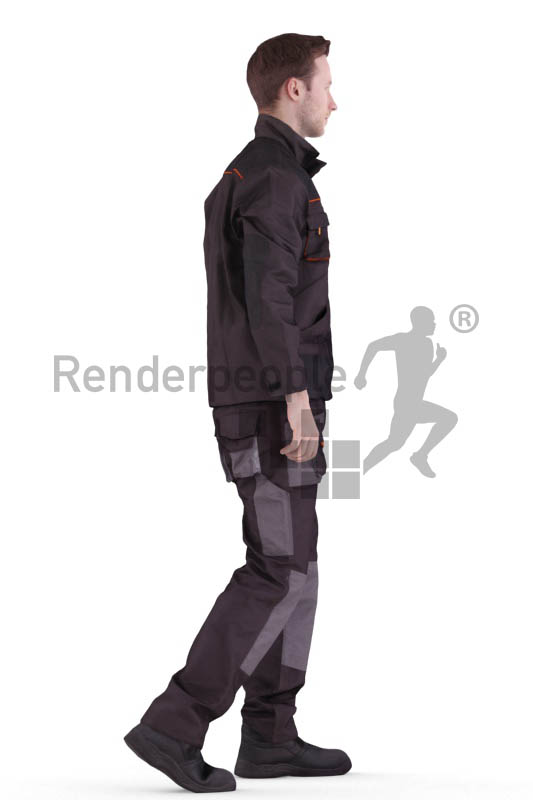 3d people worker, white 3d man walking
