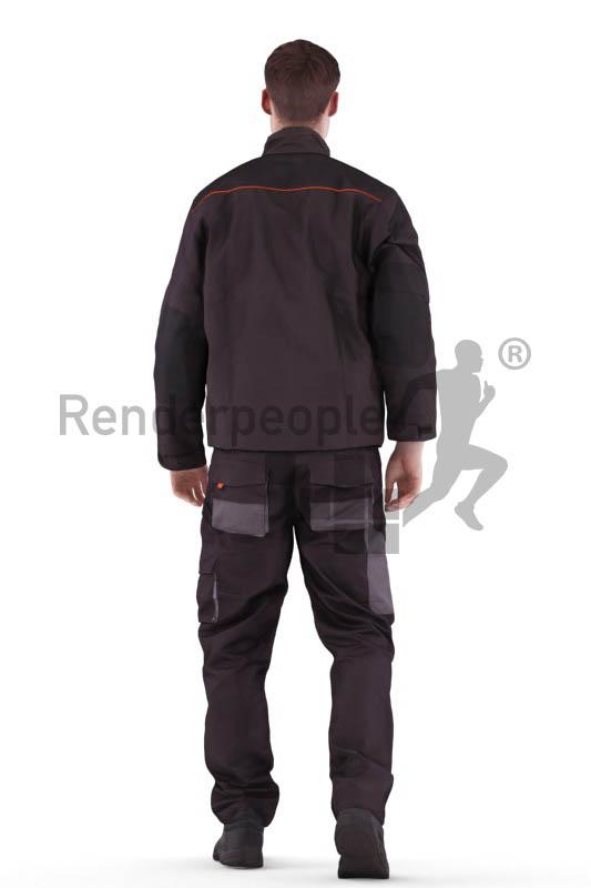 3d people worker, white 3d man walking