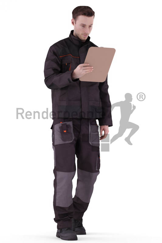 3d people worker, white 3d man walking looking at his clipboard