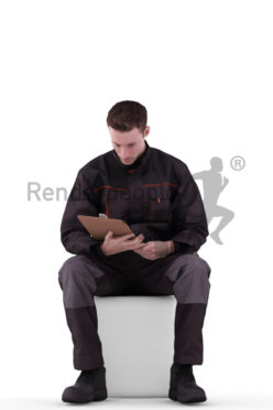 3d people worker, white 3d man sitting