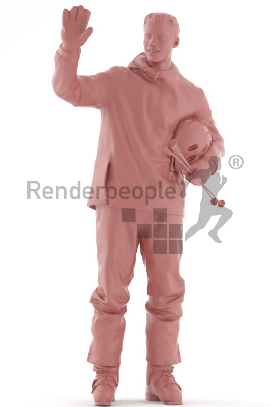 3d people skiing, white 3d man standing and waving
