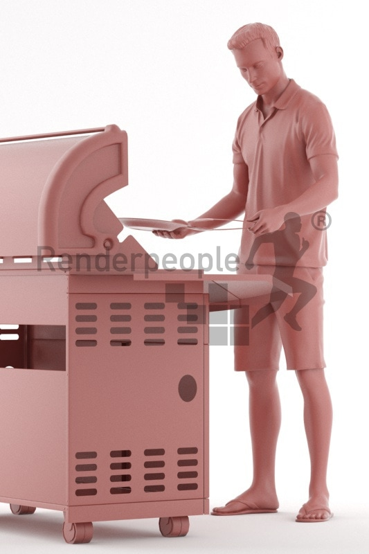 3d people casual, white 3d man grilling with bbq tong