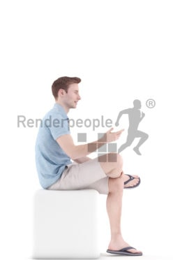 3d people casual, white 3d man sitting and talking