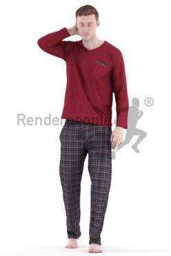 3d people casual, white 3d man walking in pyjama