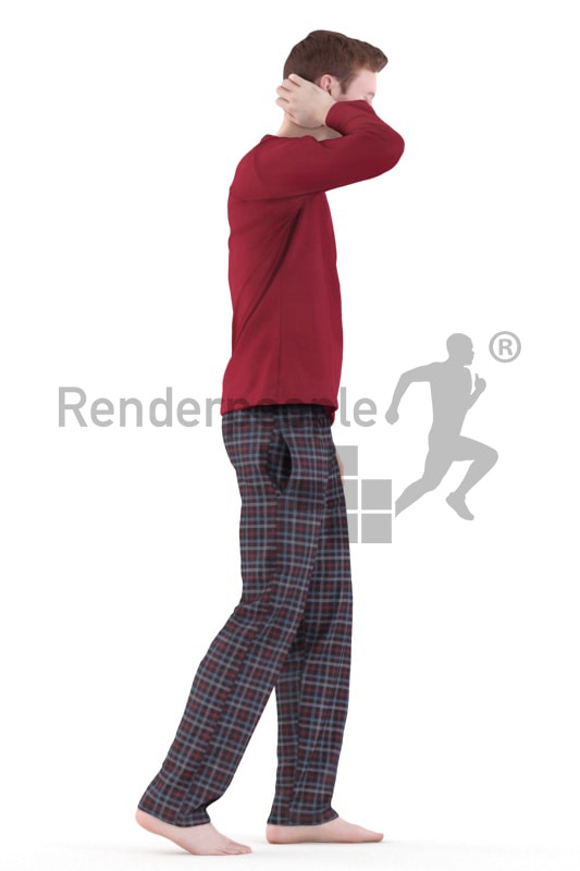 3d people casual, white 3d man walking in pyjama