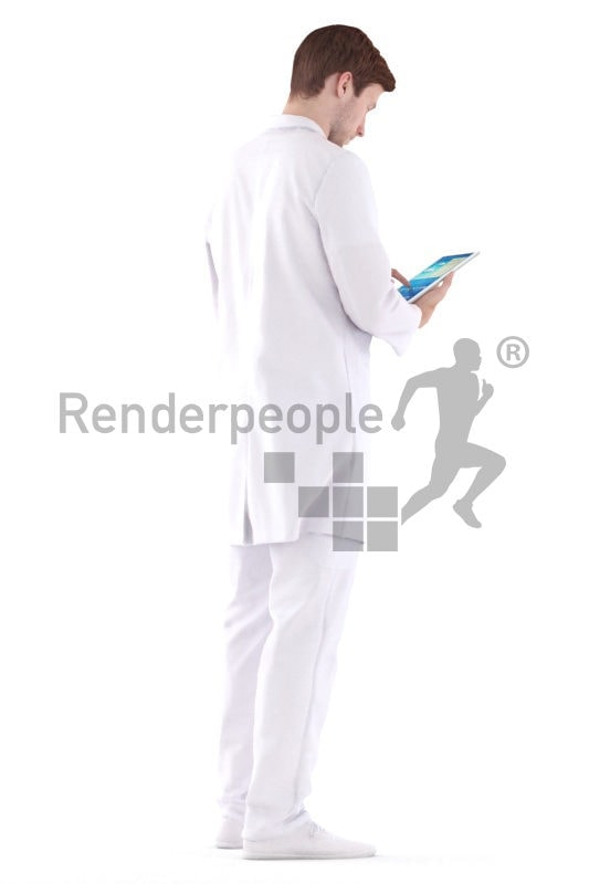 3d people healthcare, white 3d man standing and holding tablet