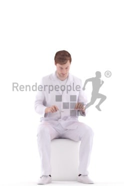 3d people healthcare, white 3d man sitting and eating