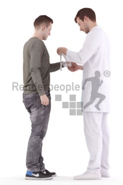 Posed 3D People model for visualization – doctor patching up his patient, medical, hospital
