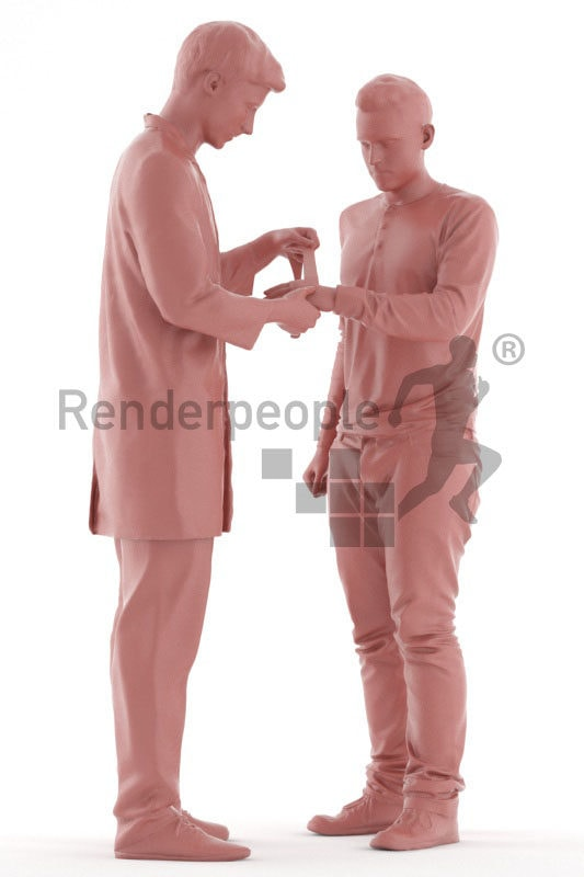 Posed 3D People model for visualization – doctor patching up his patient