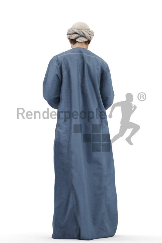 Scanned 3D People model for visualization – middle eastern man in casual traditional clothes, standing and typing on his smartphone