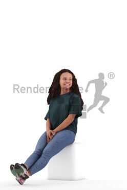Photorealistic 3D People model by Renderpeople – black woman in daily wear, sitting and listening